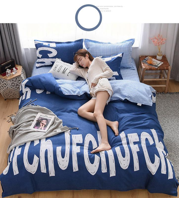 100% полиэфирное волокно комплект постельных принадлежностей мода A / B двусторонний узор простота простыня пододеяльник наволочка постельное белье текстиль