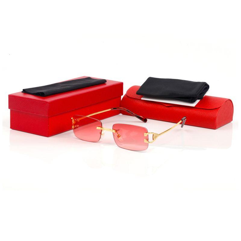 Оптово-квадратные рамки 2019 Марка Дизайнер очки солнцезащитные очки для мужчин и женщин без оправы объектива Red Солнцезащитные очки металлический каркас бренда солнцезащитных очков