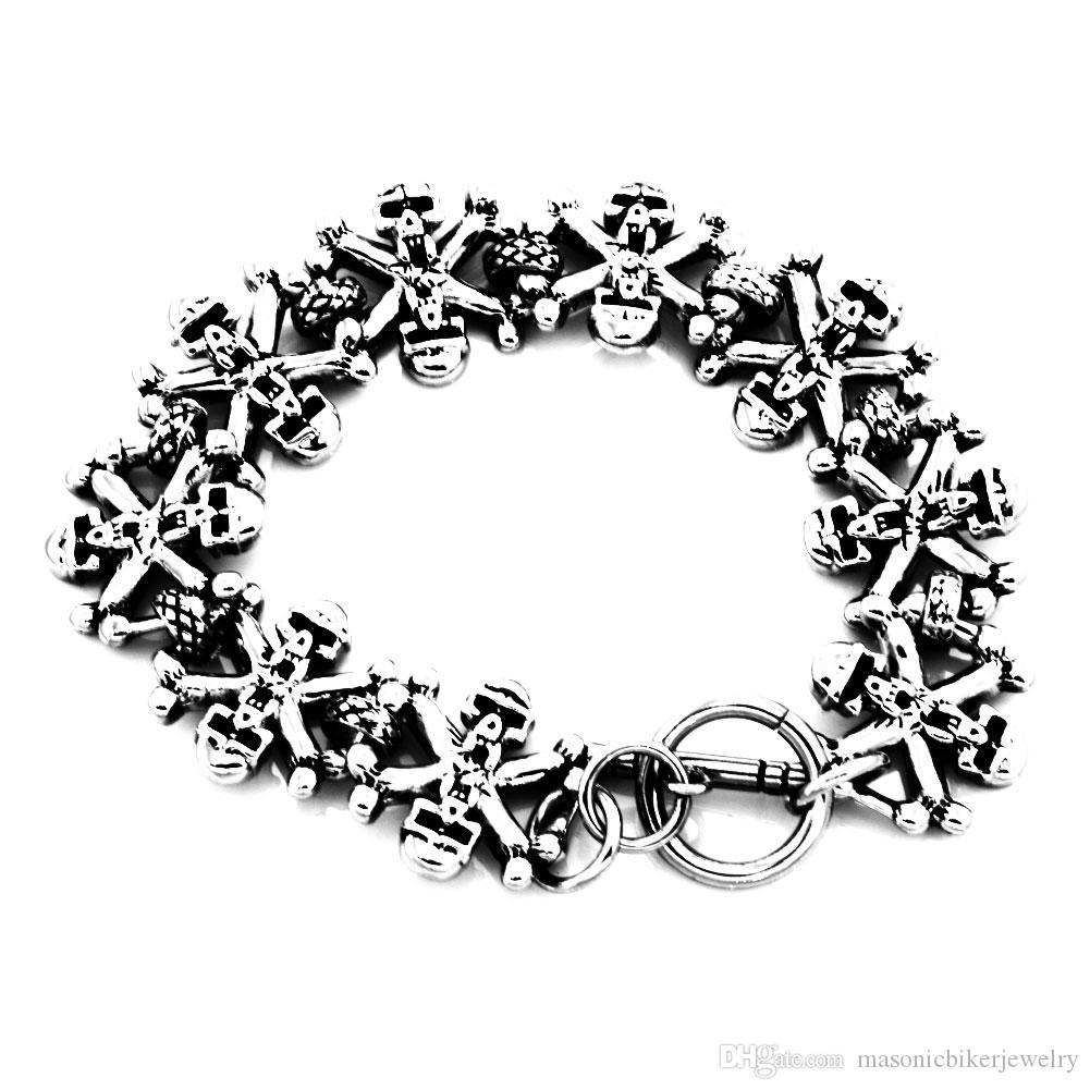 FANSSTEEL панк из нержавеющей стали старинные мужские женские ювелирные изделия цепи крест призрак череп ссылка готический байкер браслет FSB00W05