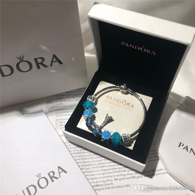 Bijoux bracelets Pan 18 19 20 21 22 23 concepteur alliage d'argent perles Strands Charm Bracelet bracelets ensemble original de boîte