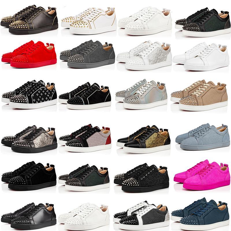 2020 Tasarımcı Ayakkabı kırmızı Alt Lüks Gerçek Deri Sneakers Üst Kalite Siyah Beyaz Kırmızı Mavi Günlük Ayakkabılar Boyut 35-48 Kutusu ile