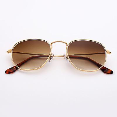 Big glass designer sunglasses metal frame gradient lenses 2020 fashion sunglasses hexagonal full frame sun glasses