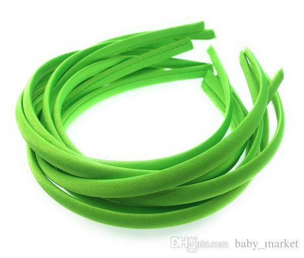 100pieces/lot 10mm Solid Color Satin Covered Resin Hairbands,Ribbon Covered Adult Kids Headbands Girl DIY Hair Accessories