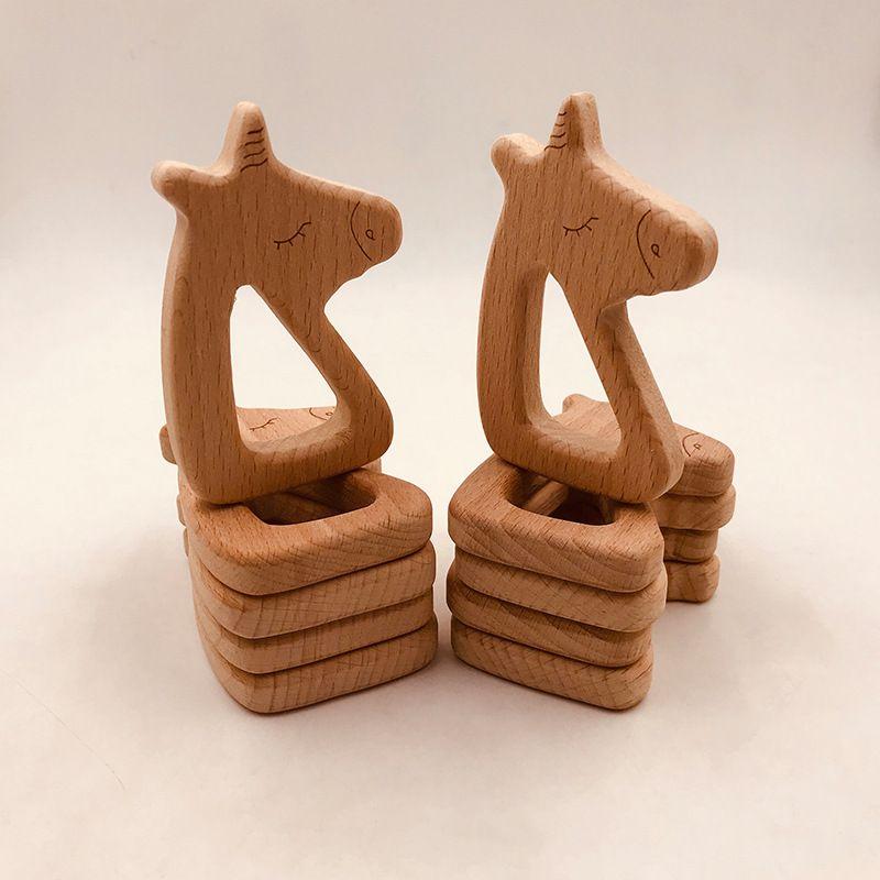 10pcs infantile forme de cheval en bois Tétines pour bébé Enfants Molar Pacifier chaîne Collier Jouets de qualité alimentaire Hêtre Teething formation Jouet