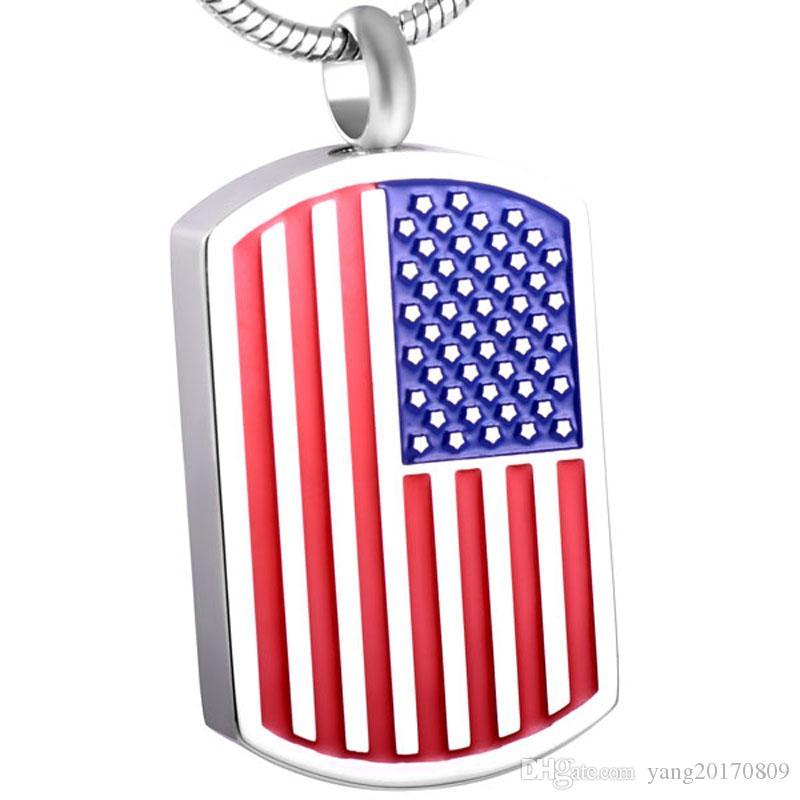 IJD8432 Amerikanische Flagge Hundemarke Edelstahl Feuerbestattung Schmuck Halskette für Asche Urne Memorial Andenken Anhänger Schmuck
