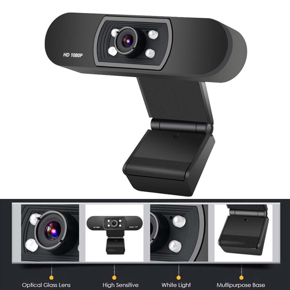HD Webcam 1080P com Mic Clip-on PC Laptop Computer USB 2.0 Webcams câmara Web câmara Web 360 Grau