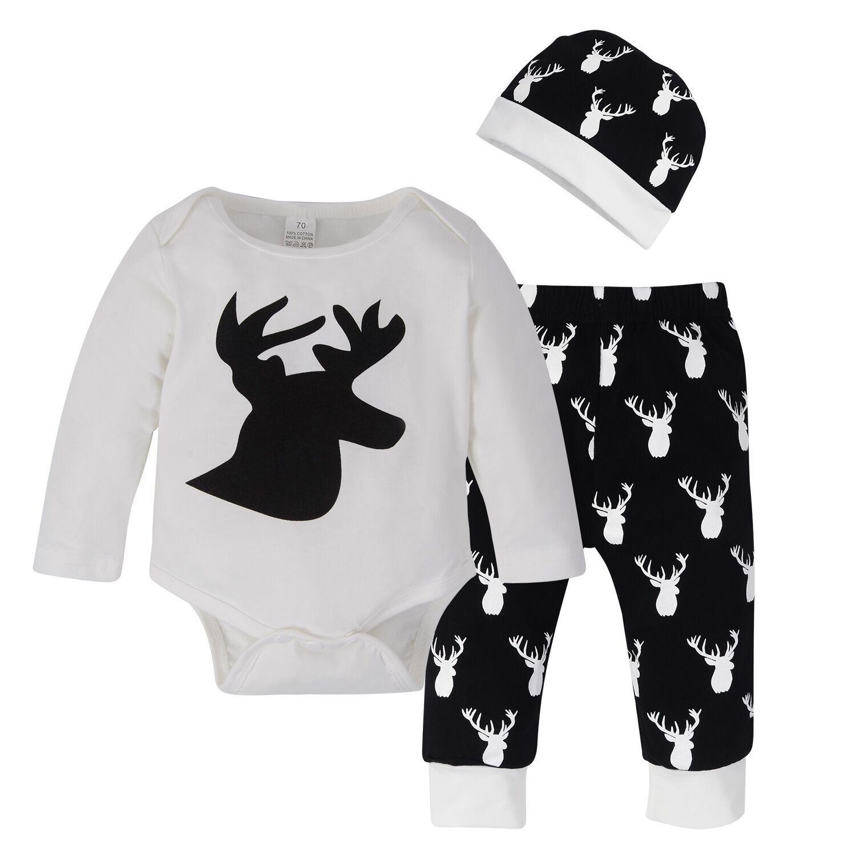 Christmas Tshirt Reindeer Print Short Baby Boy Girl Fashion Kid Children Clothes