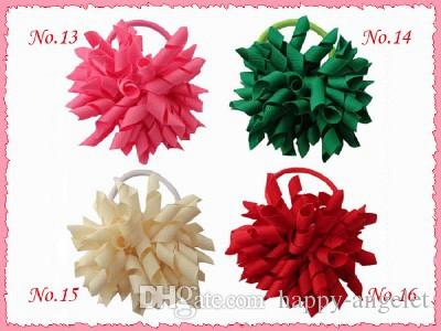 "Girl 4"" korker Hair bows clips curly grosgrain ribbon ponytail Corker satin hairband flowers bobbles hair ties elastic headband 20pcs PD007"
