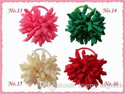 "Girl 4"" korker Hair bows clips curly grosgrain ribbon ponytail Corker satin hairband flowers bobbles hair ties elastic headband 20pcs PD007"