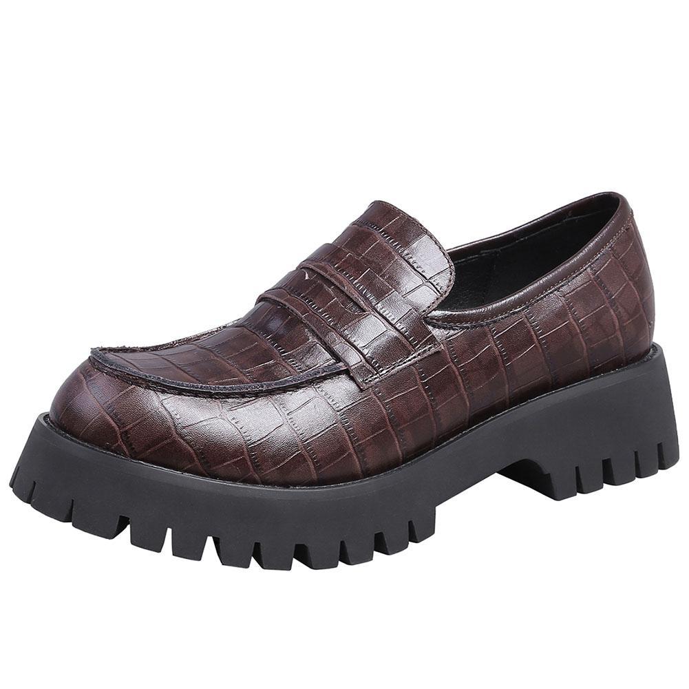 Cuero femenino nueva moda plataforma plataforma primavera mujer casual deslizamiento pisos pisos genuinos mocasines zapatos mujer lnoeo