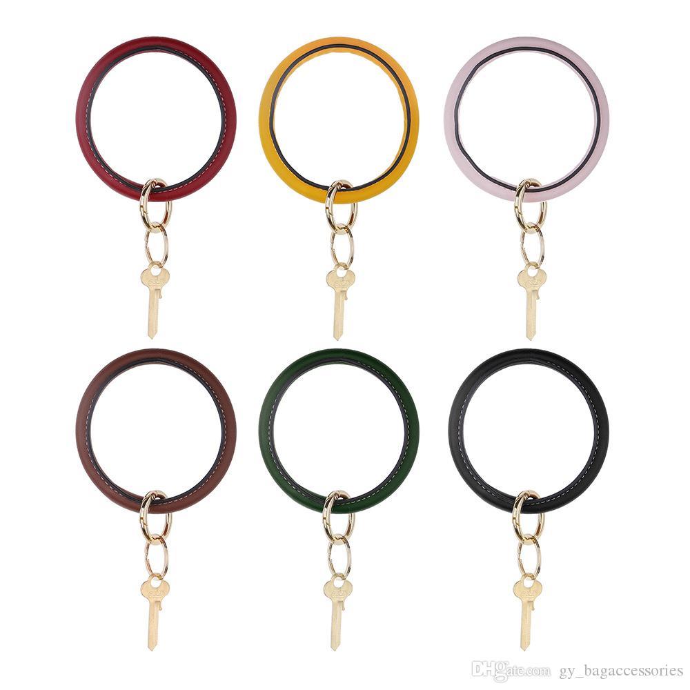 Fashion PU Wristband Kaychain O Ring Key Pendant Buckle DIY Manual Wallet Anti-lost Tassel Hang Hook DecorAccessories