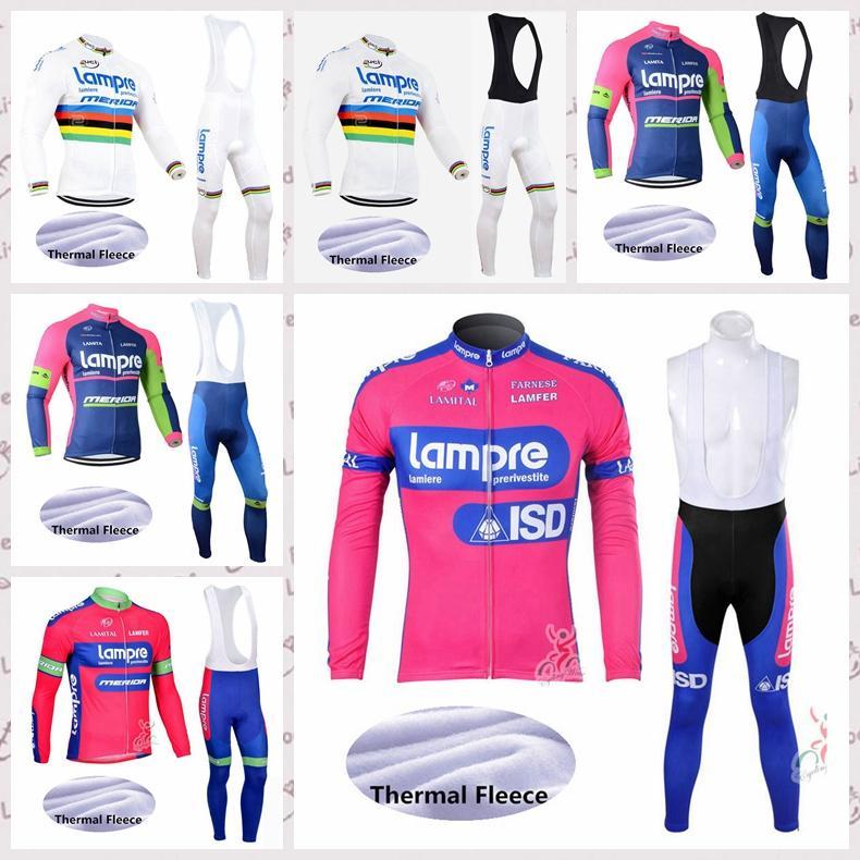 Ciclismo Lampre invierno polar pantalones del babero de Jersey conjuntos 2020 hombres bici de la manga larga cálidos deportes ropa de la bicicleta C624-24 uniforme