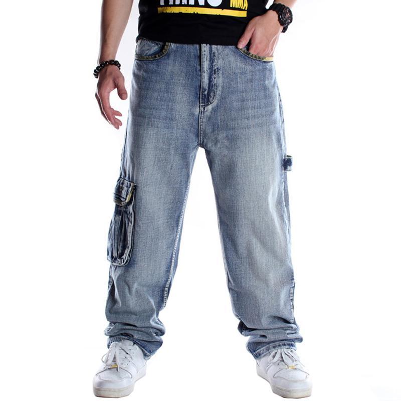 Erkekler hip hop çoklu cepler kargo kot Gevşek artı büyük boy kaykay hiphop streetwear mavi kot pantolon