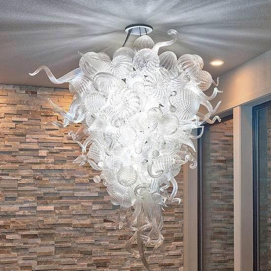 Hot Sale Modern Crystal Chandelier Light Glass Art Home Decoration Clear Ball Pendant Lamps Style Hand Blown Glass Stair Chandelier