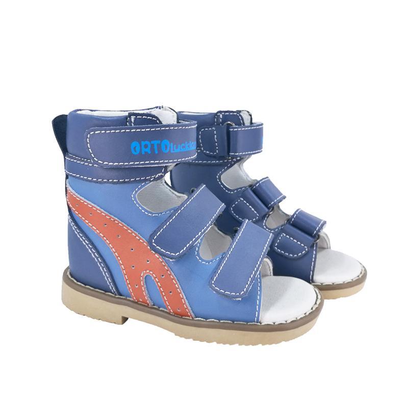Детские прохладные сандалии синий и оранжевый украшения ортопедическая обувь из натуральной кожи для детей высокие лодыжки плоскостопие обувь