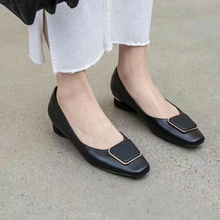 2020040607Y 40 Black Borgogna Genuine Pelle Pelle Skin Square Cap TOE 3cm Tacco Tacco Shoe