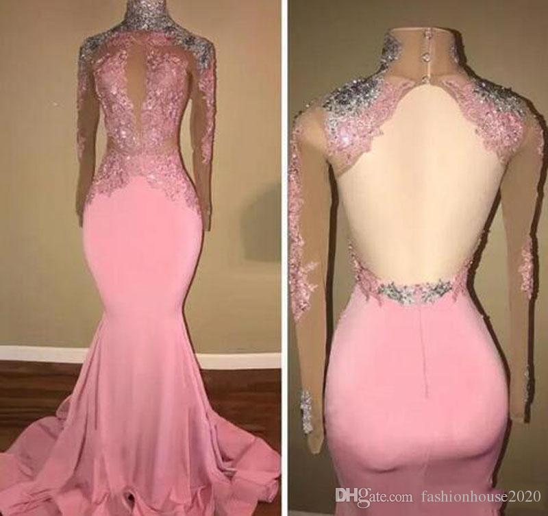Nuovo economici sirena rosa sirena abiti da ballo collo alto appliques in raso aperto indietro sexy pageant partito abiti da sera robe de mariee