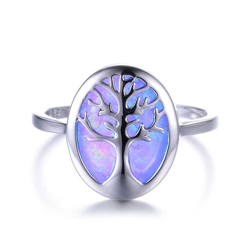 Ellipse Opal Mystery Arbre Bague Opale Mode Bridal Charm Accessoires de mariage Bijoux Saint Valentin cadeau