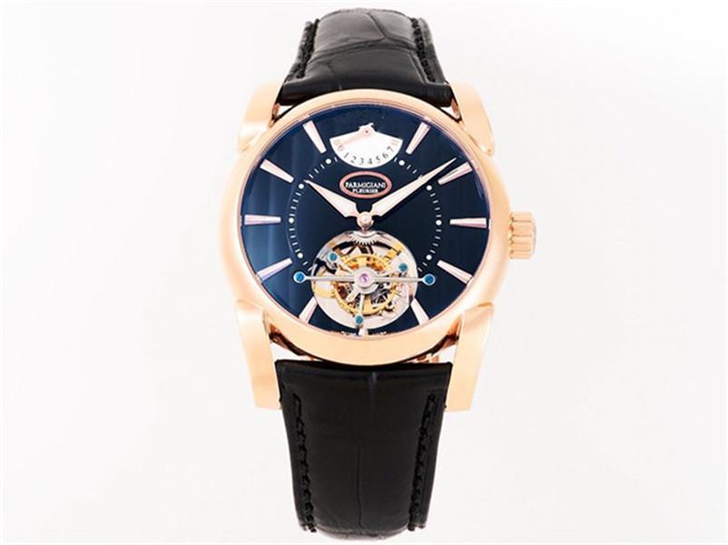 Новое высокое качество, мужской стиль, чайка настоящий турбийон, 18к золотой чехол, 42 мм, дизайнерские часы, сапфировое стекло