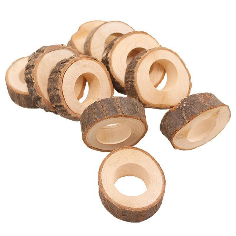 Wooden Napkin Ring Countryside Wooden Napkin Buckle Wedding Hotel Restaurant Tablecloth Ring Party Banquet Table Decoration EEA1354-7