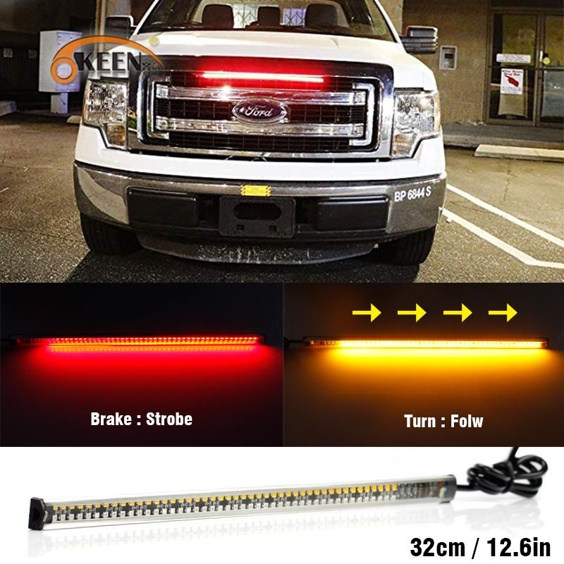 LED Car Red+Amber Brake Tail Light Bar Turn Signal Indicator Sequential Flowing