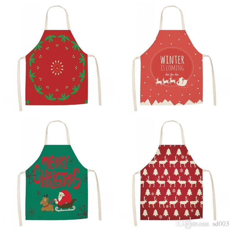 Ev Mutfak Pinafore Pamuk Keten Elk Noel Baba Çorabı 8 Desen Kadınlar Önlük Karikatür Noel Decration8 5my E1 için Parti Önlükler yazdır