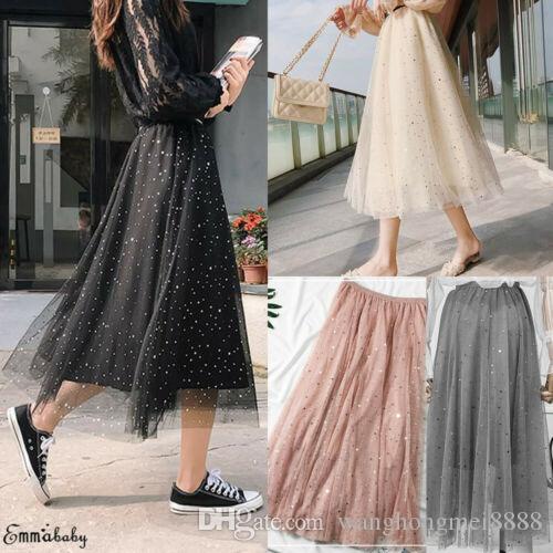 Nouvelles femmes taille haute jupe plissée jupe longue Swing Star Moon robes de tulle