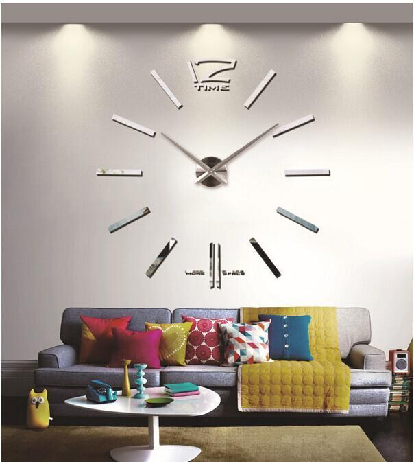 Grande mentale DIY 3D grande formato Home Decor Sticker Nero Orologio da parete Silver Home Decor Sticker 130 centimetri * 130 centimetri (51,2 * 51.2in)