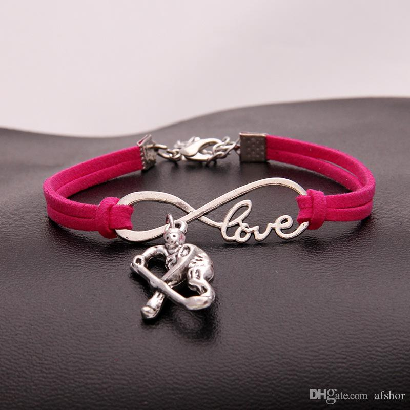 New Arrival Hot Fashion Rose Red Leather Suede Wrap Cuff Charms Bangles Infinity Love Hockey player Bracelet For Women Men Jewelry Wholesale