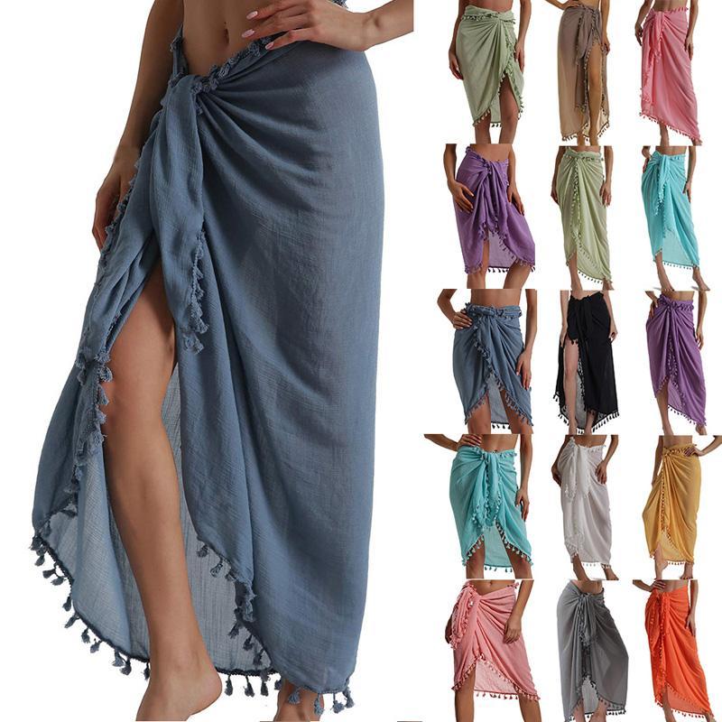 여성 비치 드레스 세미 셔츠 수영복 비키니 커버 짧은 치마와 Tassels 쉬폰 랩 수영 드레스 사롱 파레 반바지