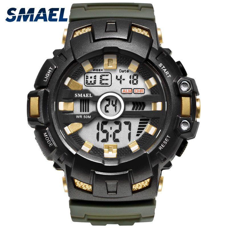 LED Bracelet numérique Waches Smael Marque de luxe Horloge Montres Hommes militaire Alarme relogio montre1532B Hommes Montres Sport Waterproof