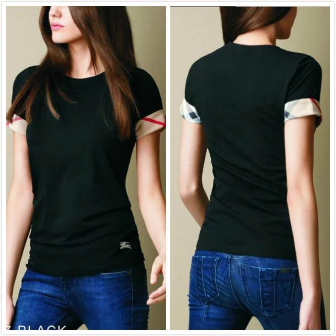 품질 고전적인 티셔츠 플러스 사이즈 여성 캐주얼 짧은 소매 원형 목 코튼 숙녀 디자이너 티셔츠 슬림 여름 사무실 격자 무늬 티셔츠
