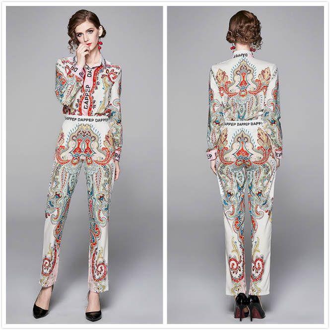 2020 새로운 우아한 바로크 프린트 두 조각 세트 여성 디자이너 긴 소매 셔츠 + 긴 바지 2 개 플러스 사이즈 숙녀 활주로 2 조각 바지