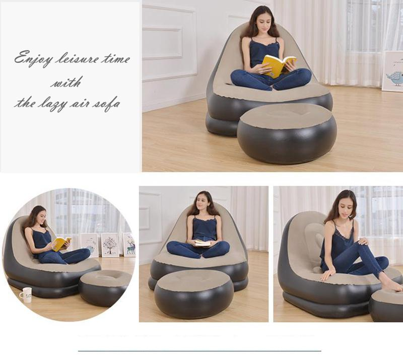 Groovy Inflatable Chair Sofa Lounger With Ottoman Foot Stool Rest Single Couch Beanbag Living Room Outdoor Air Lounge Chairs Free Send Foot Pump Pool Beatyapartments Chair Design Images Beatyapartmentscom