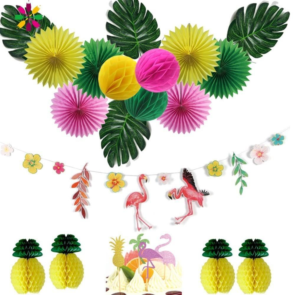 Hawaiian Party Decorations 15pcs/set With Flamingo Garlands Palm Leaves Cake Topper For Beach Summer Tropical Party Supplies CJ191216