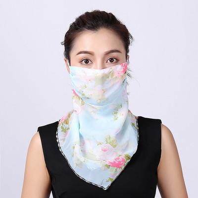 Güneşlik Maskeler Kadınlar Eşarp Yüz Fular Toz Maskesi EEA1678 İpek şifon Mendil Açık Windproof Yarım Yüz Toz geçirmez maskeler Maske