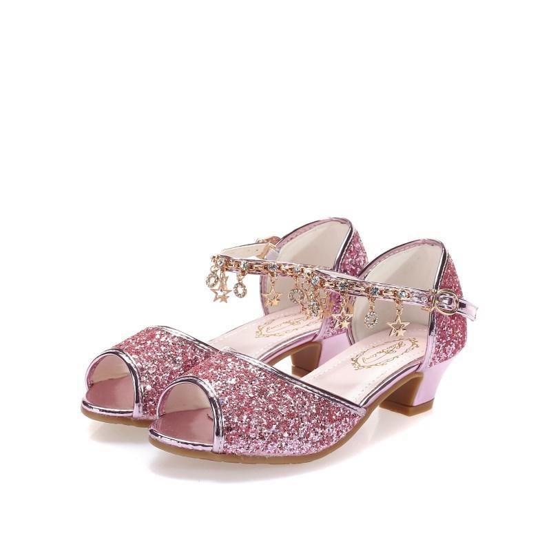 Girl High Heels Sandals Pink Dress