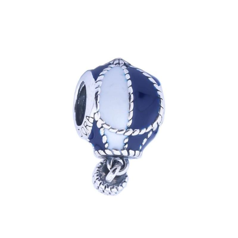 New Authentic 925 Sterling Silver Blue & White Enamel Hot Air Balloon Dangle Charms Beads For DIY Bracelets Jewelry Making Accessories