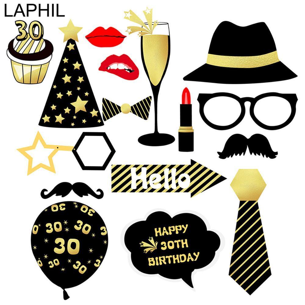 LAPHIL Mutlu 30 Doğum Photo Booth Dikmeler Man Kadınlar 30 40 50 60 yaşında doğum günü partisi Süsleri Yetişkin Parti Fotoğraf Dikmeler