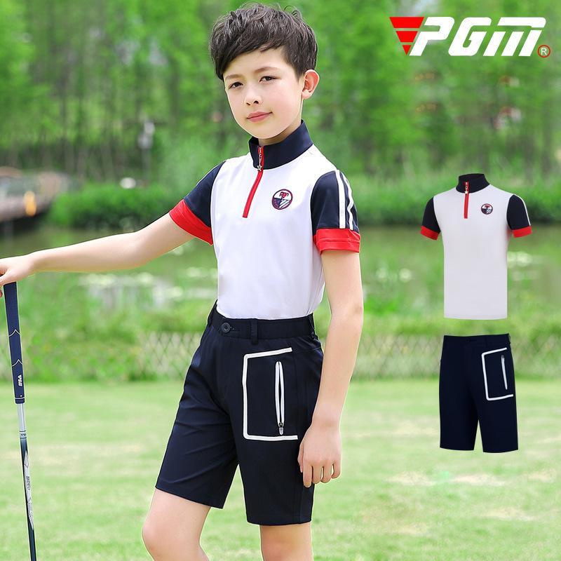 Pgm Garçons Vêtements de golf Ensembles d'été respirant manches courtes T-shirt avec poches à glissière Shorts Enfants Quick-sec Vêtements de golf D0783