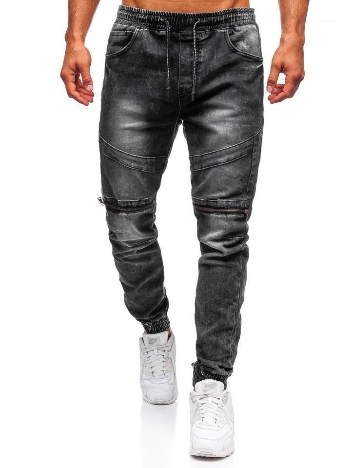 Jeans Uomo ginocchio Zipper sbiancato Abbigliamento Uomo Designer di moda casual maschile pantaloni della matita cordoncino elastico in vita