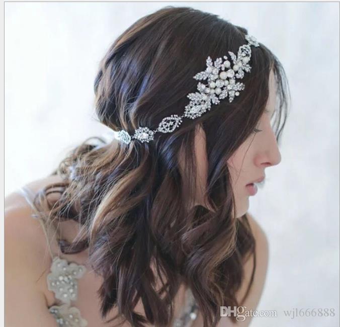 Silver Diamond Head pérola noiva hairband noiva modelo acessórios