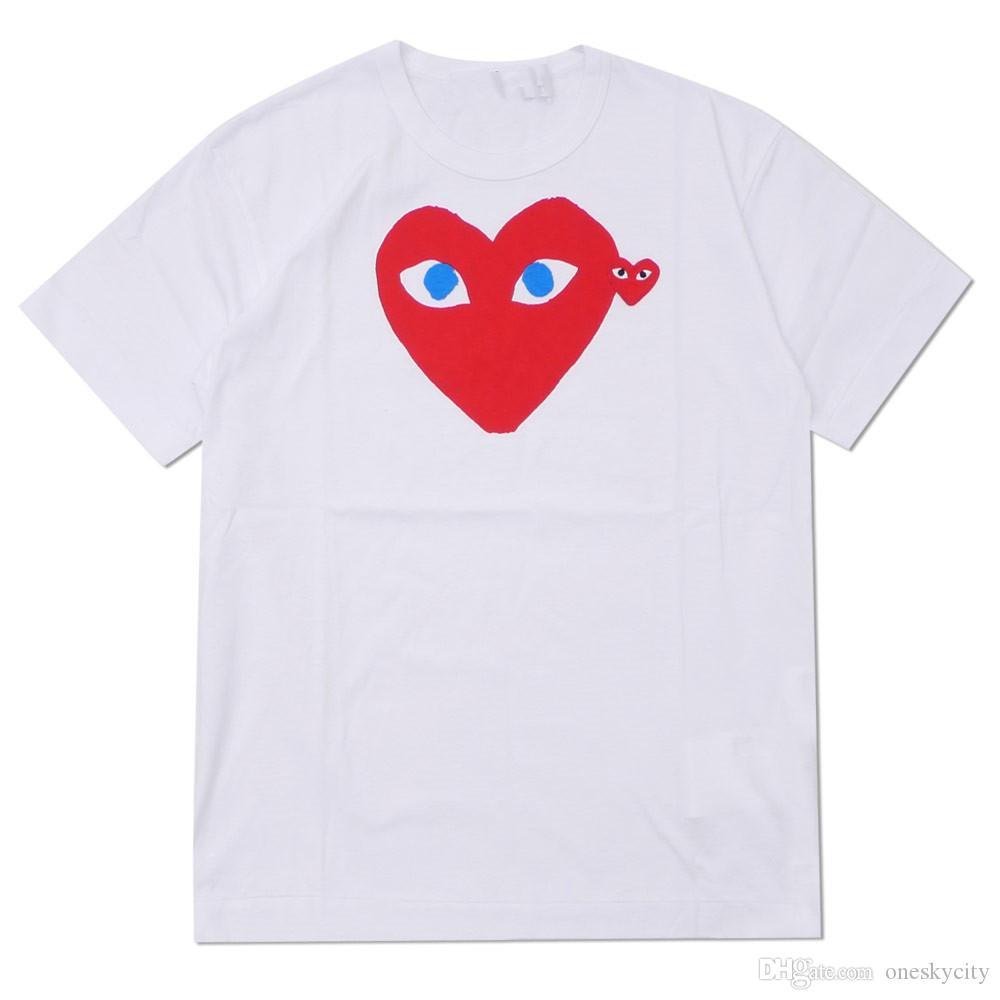 2019 COM wholesale New Hot VACANCES coeur Emoji GARCONS japonais Blanc Noir Pois de coeur T-shirt blanc des femmes des hommes