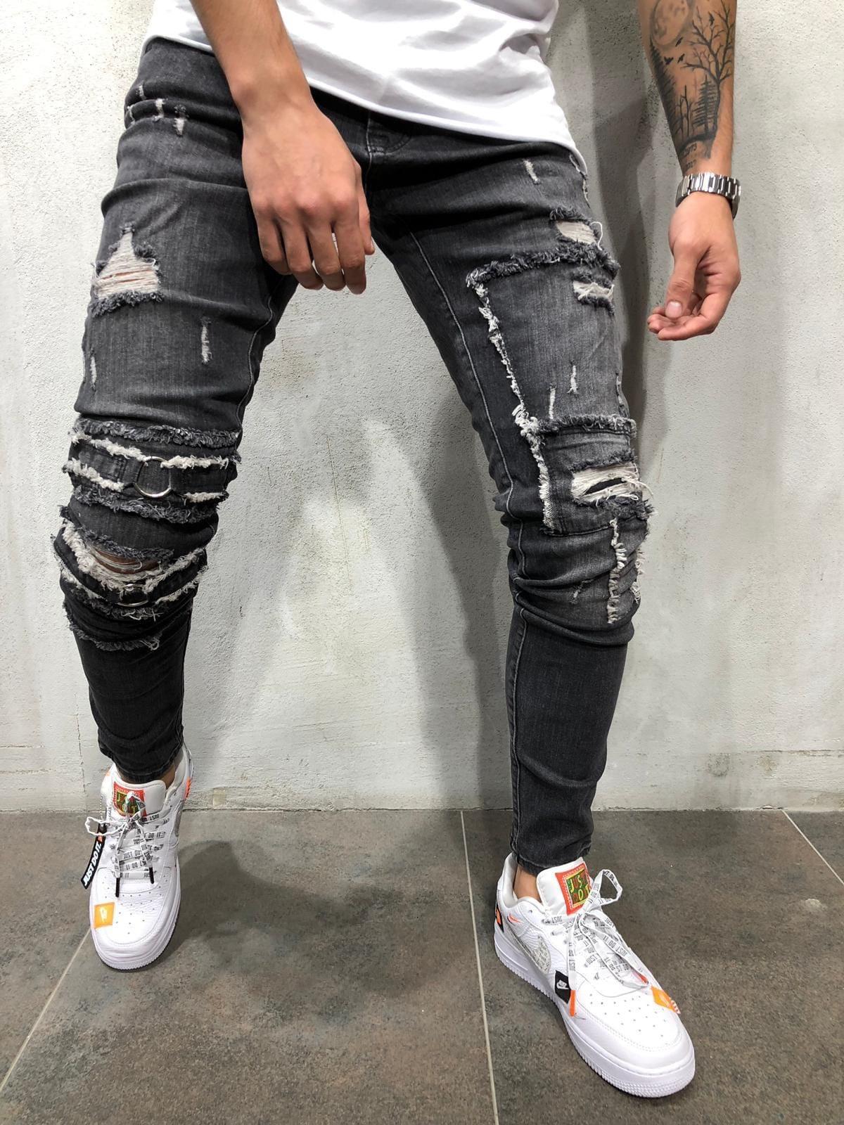 Pantalon crayon noir pour homme Slim Fit Pencil Printemps Printemps Skinny Denim Jeans Biker Pantalon Jeans