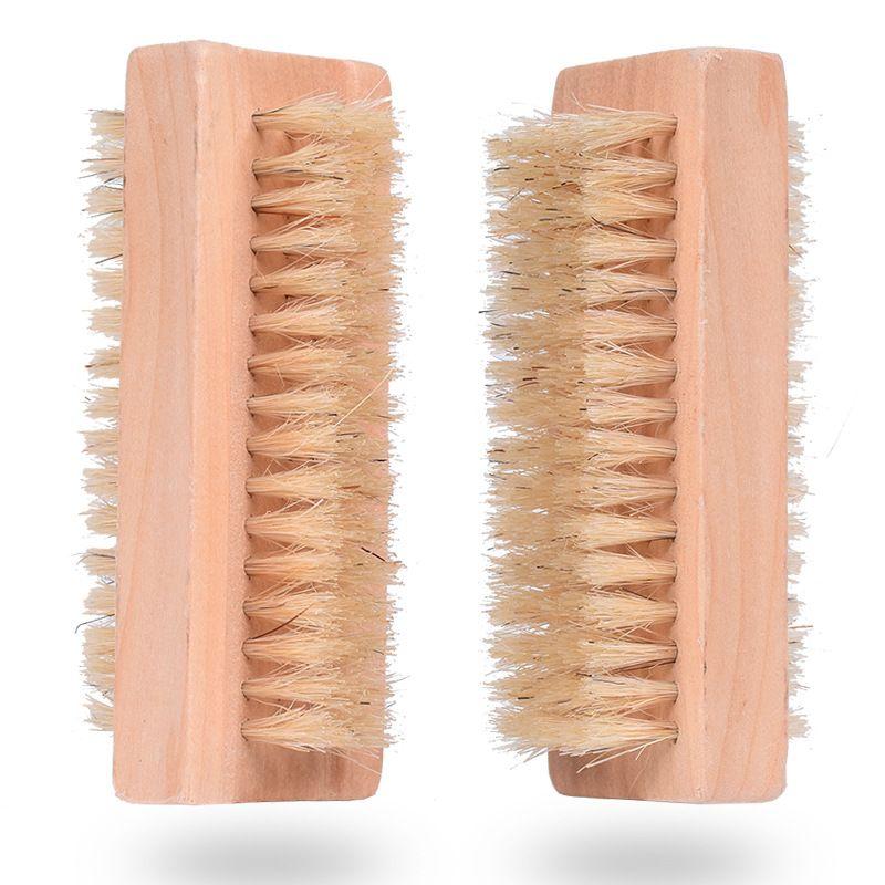 جانب الخشب فرشاة الأظافر اثنين الطبيعية الخنزير الشعر الخشن خشبي مانيكير فرشاة الأظافر SPA المزدوج سطح فرشاة اليد التطهير فرش 10CM FFA2840-4