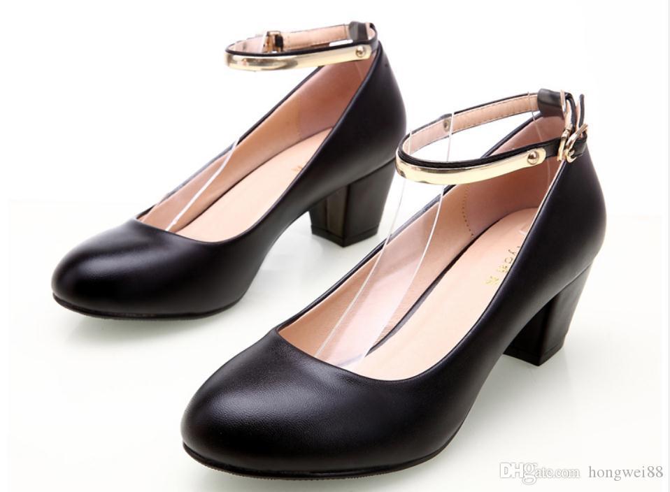 2019 Chaussures femmes au printemps et en automne avec nouveau style haut talon tête ronde talon gros @ TTTT98888