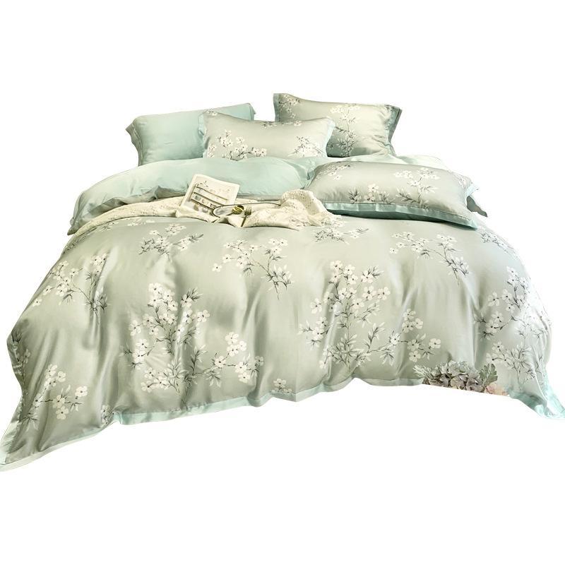 Lusso cotone di seta letto di Regina King Size Verde Rosa Siliver floreale blu copripiumino lenzuolo federa Tencel SETA Consolatore Set