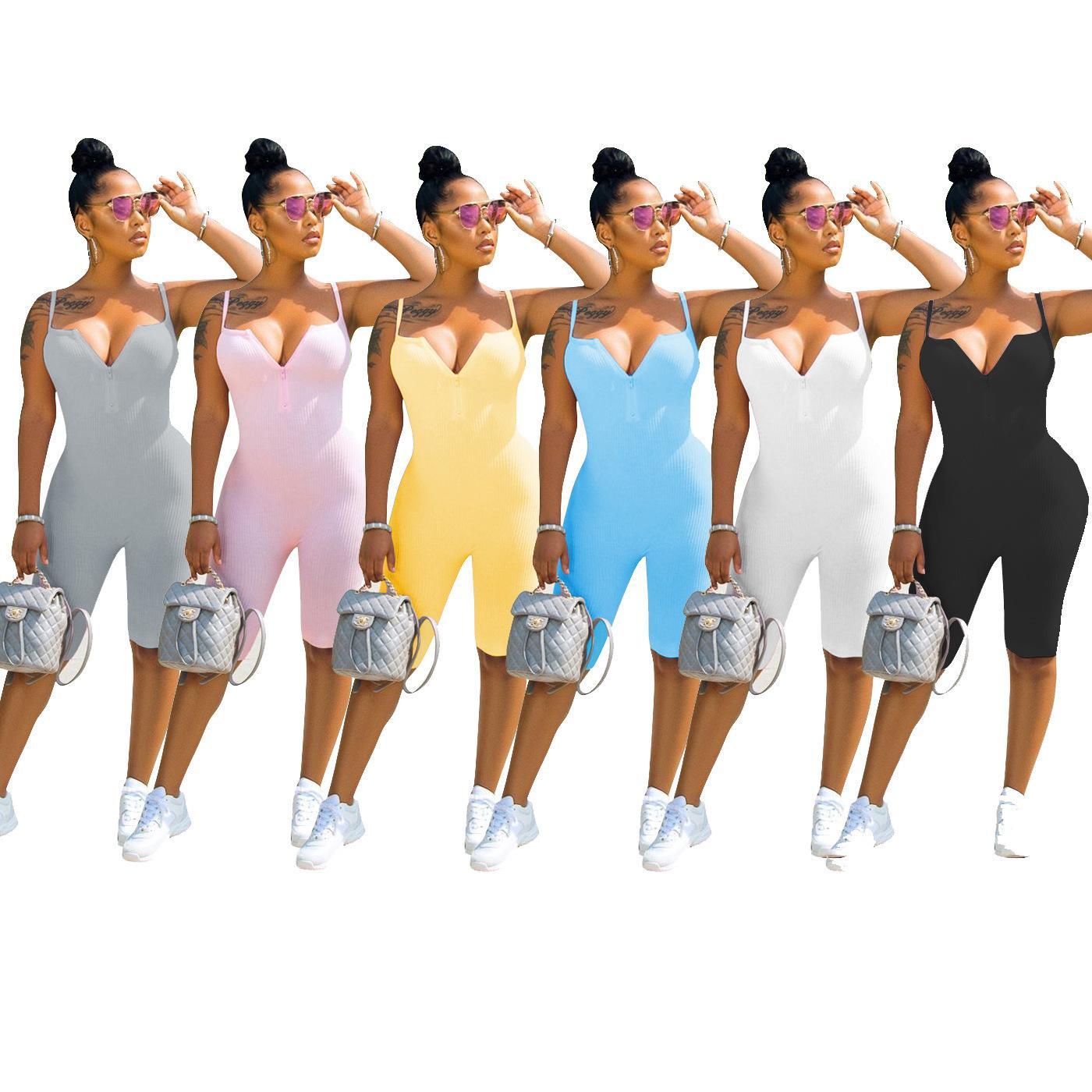 verão quente mulheres macacão ocasional estilingue malha cor sólida siameses calções bodysuit Mulheres Jumpsuits macacãozinho