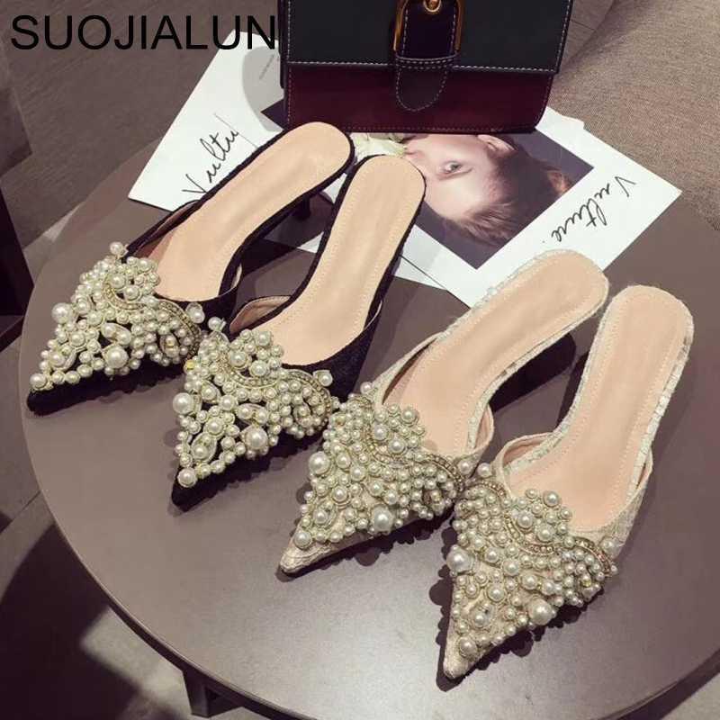 Женщины Дизайнерской Трусы Слайды дама тапочки платья женщин мулы Обувь с низким каблуком острого нос Pearl тапочки
