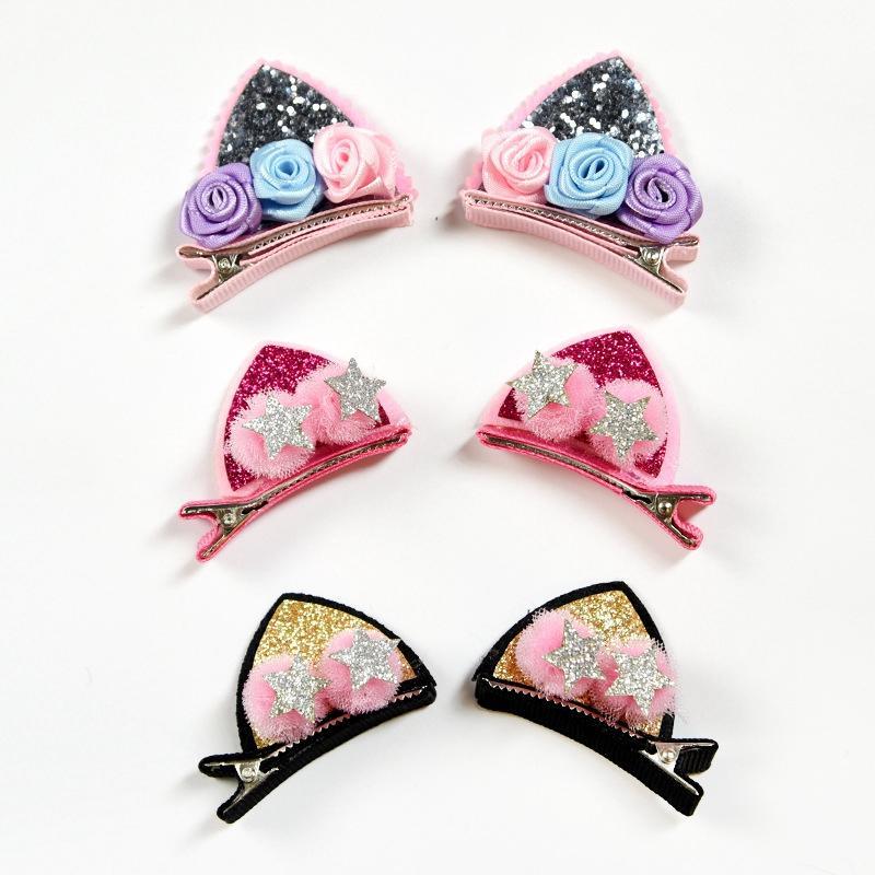 Rainbow Flowers Hairpins  Kids Hair Accessories Cat Ears Bunny Barrettes